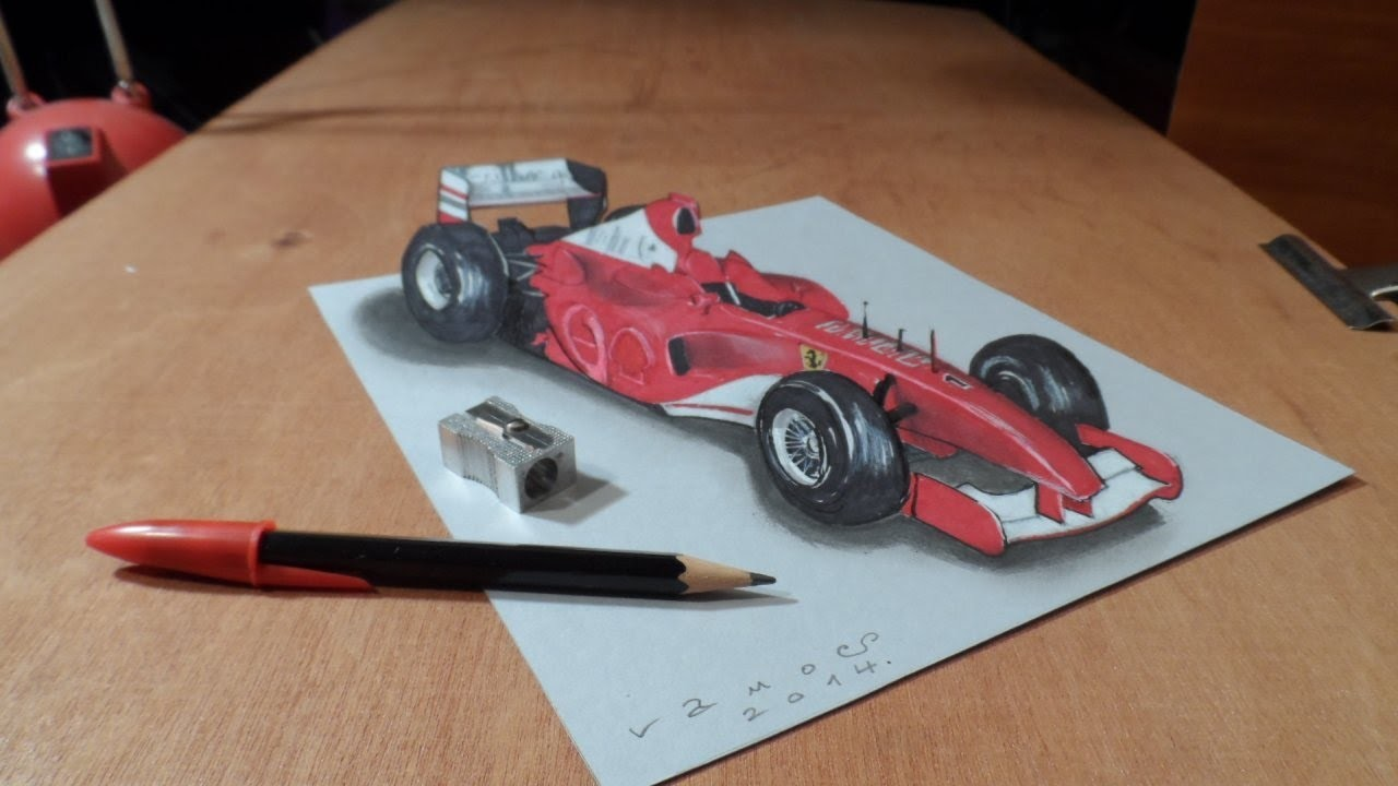 How I Draw a 3D Ferrari Formula 1 Car, Trick Art by Vamos