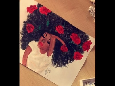 How To Draw A Black Girl With Curly Hair  Painting  Watercolor