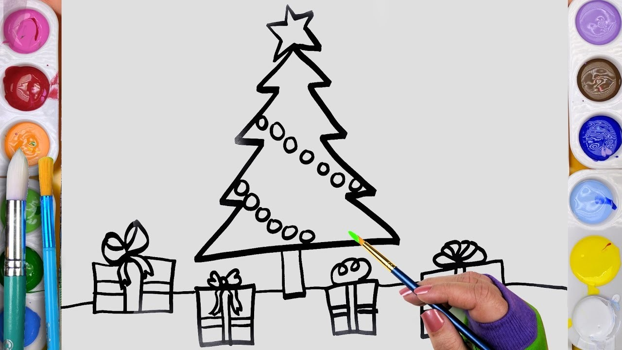 How to draw and paint and christmas tree coloring page for for How to learn to paint