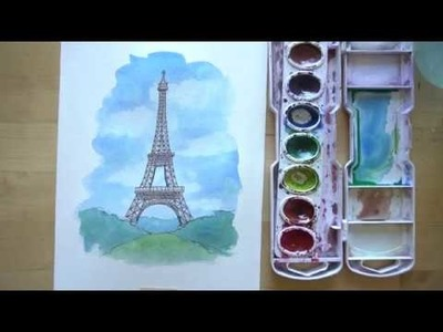 How to draw and paint the Eiffel Tower with ink and watercolor