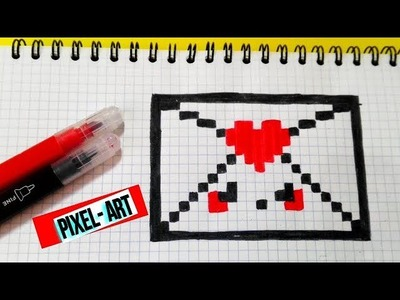 How to draw un Sobre Kawaii.- PIXEL- ART