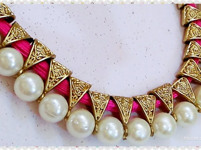 How To Make Antique Silk thread Necklace.Pearl Jewellery. !