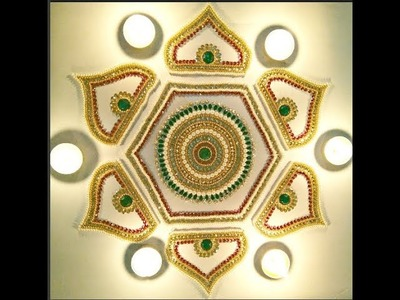 How to make Kundan Rangoli, Rearrangeble Kundan Rangoli, DIY Diwali Decoration