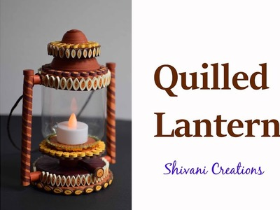 How to make Quilling Lantern. Quilled Lampshade. Miniature Quilling. DIY Quiiling item