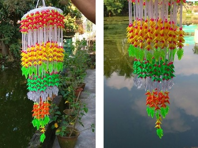 Multicolor Jhumar made of waste straws