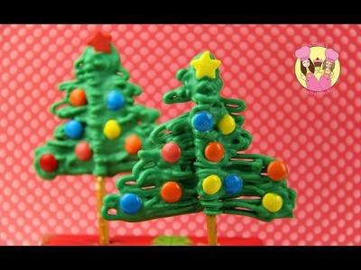 PRETZEL CHRISTMAS TREES - Easy cake pop alternative for kids - yummy party treat Charli & Ashlee