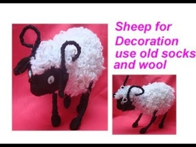 पुरानी socks और उन से बनाए  sheep for decortaion.soft toys.best out of waste material