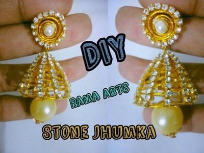 Stone Jhumka - How to make stone Jhumka | jewellery tutorials