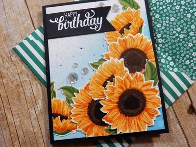 The Ton Fresh Cut Sunflowers Birthday Card with Envelope | Layering Stamps