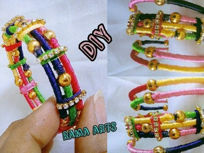 Thin bangles set with side bangles | Making with silk thread | jewellery tutorials
