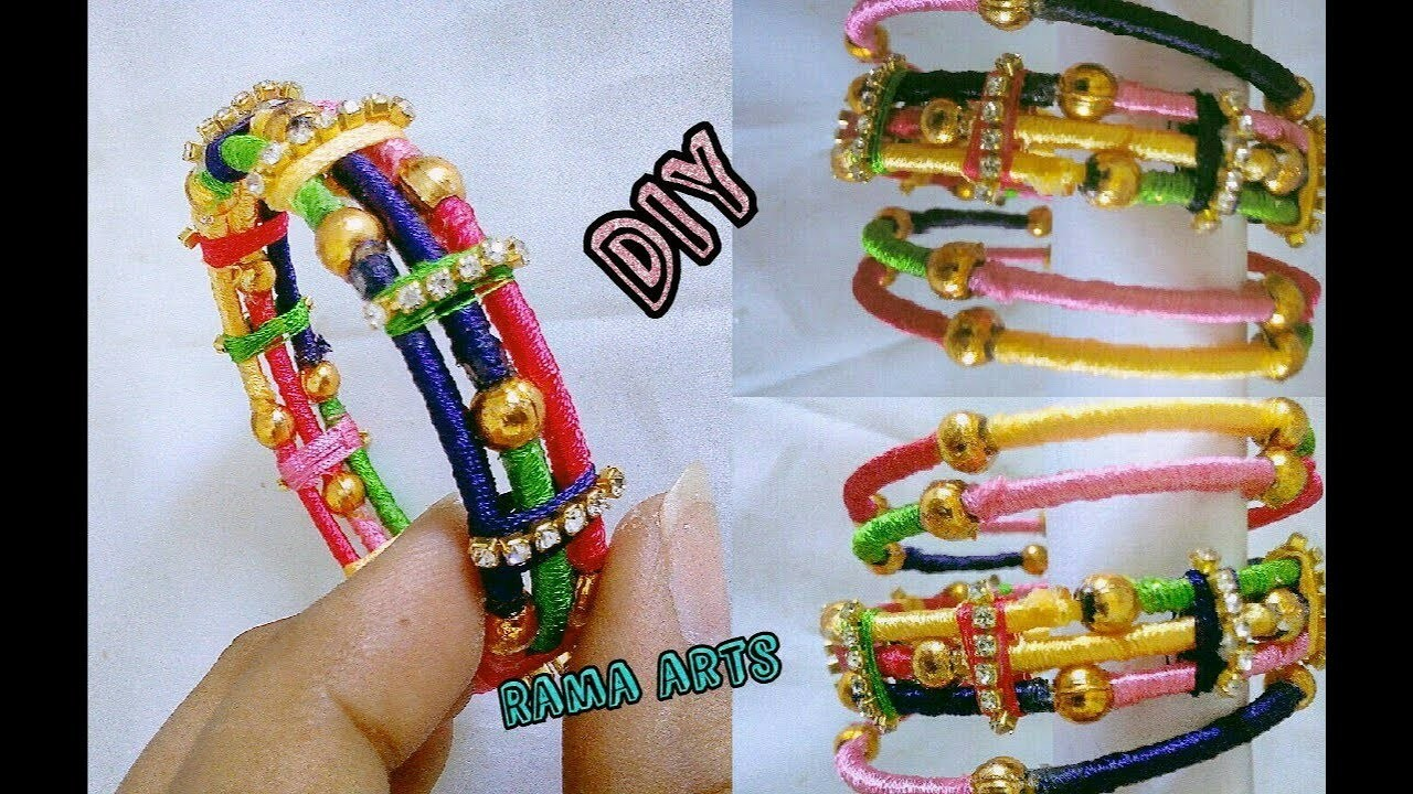 Thin bangles set with side bangles   Making with silk thread   jewellery tutorials
