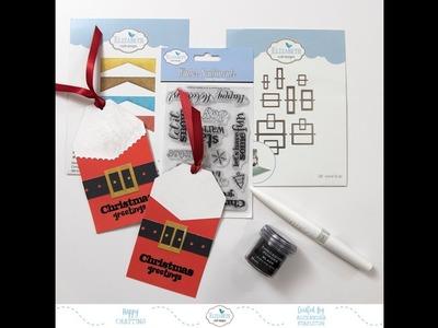 A Die Cut Santa Christmas Gift Tag with Elizabeth Craft Designs