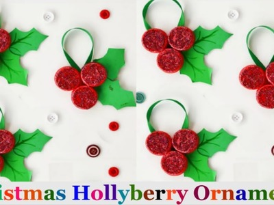 Christmas Hollyberry Ornament from plastic bottle cap.Christmas  decoration ideas | Christmas craft