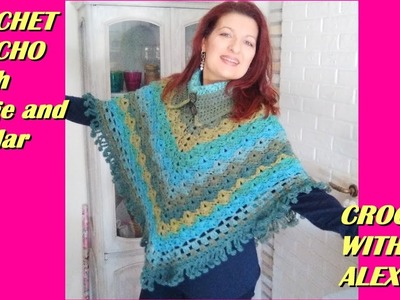 CROCHET PONCHO WITH COLLAR AND FRINGE tutorial any yarn hook size