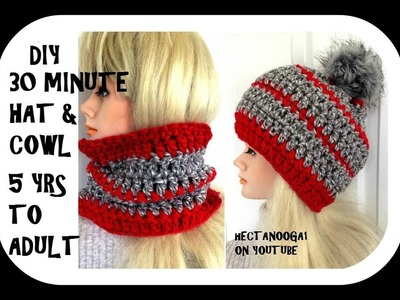 DIY   CROCHET 30 MINUTE COWL HAT--. CONVERTIBLE COWL TO HAT- 5 yrs to adult free pattern #2136YT