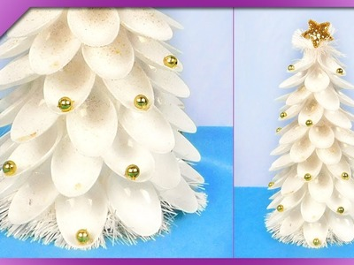 DIY How to make Christmas tree out of plastic teaspoons (ENG Subtitles) - Speed up #432
