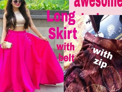 DIY  -long stylists lahanga and scrit cutting and stitching full tutorial