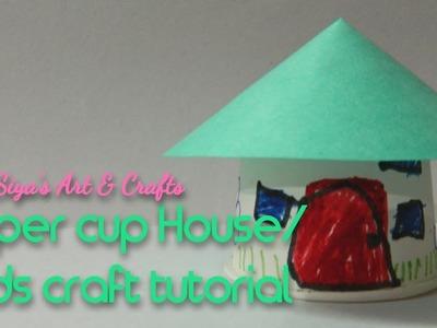 Diy paper cup house. handmade craft
