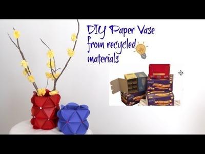 DIY Paper Flower Vase || Paper Craft Idea || Flower Vase Show Piece || Inspiration Kidzone