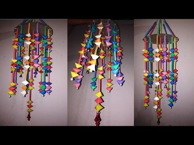 Diy: straw craft.how to make Wall Hangings.chandelier.Jhoomar. Ceiling Hanging2018