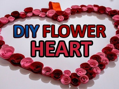 DIY Wall hanging decoration piece.How to make flower heart.DIY Craft Queen