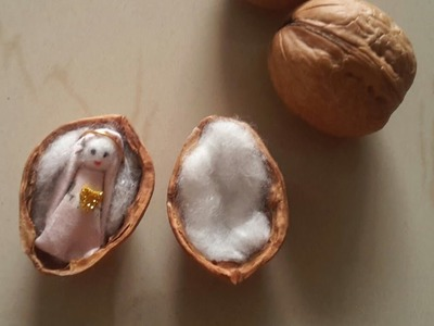 Easy and cute craft with nut shells #nutshelldoll