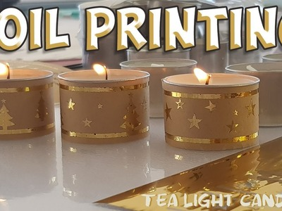 Gold foil tea light candle covers for Christmas