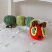 hand knitted hungry caterpillar