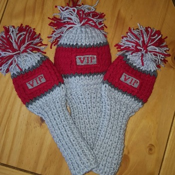 hand knitted personalized 3 piece golf club head cover set choice of colours
