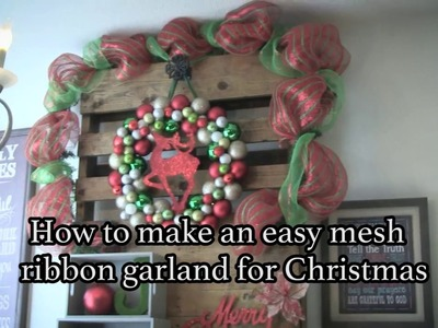 How to create a Christmas garland with mesh ribbon