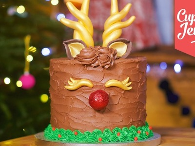 How to Make a Cute Rudolph Cake for Christmas | Cupcake Jemma