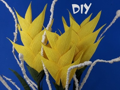 How to make crepe paper flowers | DIY paper Heliconia | Craft tutorials