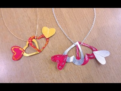 How to make Paper Heart Necklace easily ~ DIY Valentine Craft ~ For Beginners ~ Simple Tutorial.