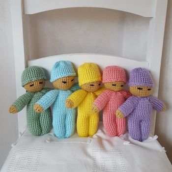knitted baby doll in choice of 5 colours