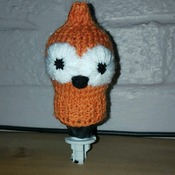knitted gear knob cover in fun EDF zingy design