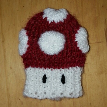 knitted gear knob cover in fun super mario mushroom design