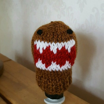 knitted gear knob cover in fun domo kun design