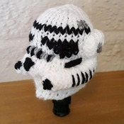 knitted gear knob cover in fun storm trooper design