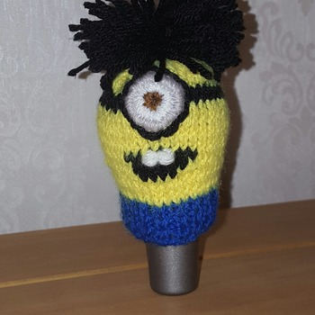 knitted gear knob cover in fun minion design