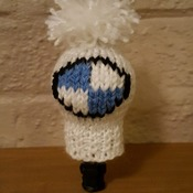 knitted gear knob cover in fun BMW design