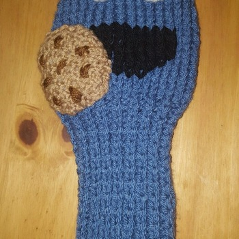 knitted golf club head cover for driver in fun cookie monster design