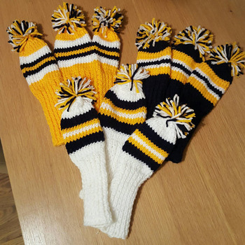 knitted golf club head cover set of 3 choice of 3 colours