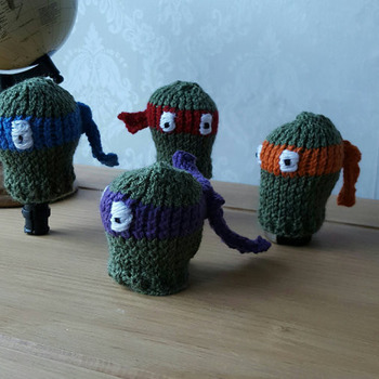 knitted teenage ninja turtles fun gear knob cover