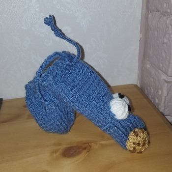knitted willy warmer in fun cookie monster design