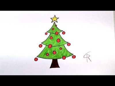 Learn How To Draw A Festive Cartoon Christmas Tree -- iCanHazDraw!