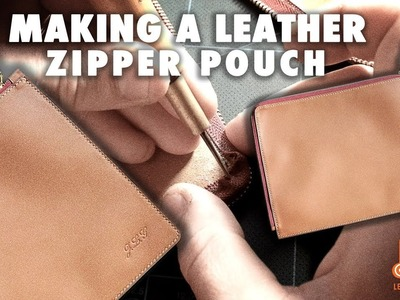 Making a leather zipper pouch. leather craft tutorial