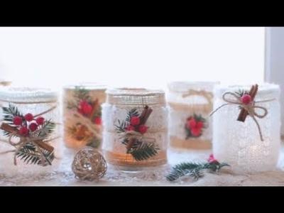 Mason Jar Christmas Candle Holder