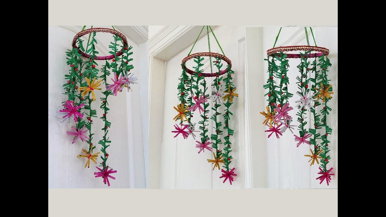 Newspaper Wind Chime Newspaper Crafts Wall Hanging Easy At Home