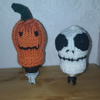 set of 2 knitted gear knob covers in fun halloween designs