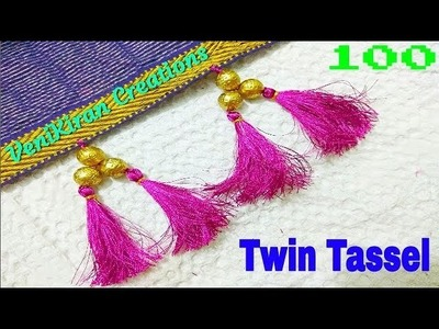 100 :: Twin Tassel :: How to Make Saree Tassel.Kuchu design with Beads @ Home - Design 39::Tutorial